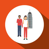 Smart city design. social media icon. technology concept. Smart city concept with icon design, vector illustration 10 eps graphic Stock Photo