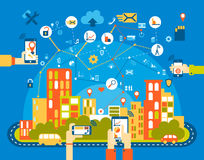 Smart city flat. Cityscape background with different icon and elements. Mobile phone control. Smart city flat. Cityscape background with different icon and Stock Image