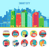 Smart City Flat Infographic Template. With advantages automation infrastructure and technologic innovations vector illustration Royalty Free Stock Photography