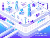 Smart City Future Technology Isometric Flowchart. With delivery and police drones, solar lights and turbine tower energy source vector illustration royalty free illustration