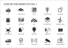 Smart city icons and symbols. In flat design