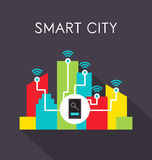 Smart city. Infographics with colorful buildings and cityscape, smart technologies concept Stock Photo