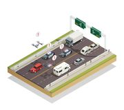 Smart City Traffic Isometric  Composition. Smart city infrastructure technology connecting and controlling cars buses trucks and drones traffic isometric Stock Photography