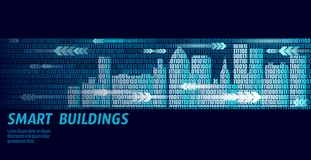 Smart city intelligent building automation system business concept. Binary code number data flow. Architecture urban stock illustration