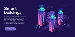Smart city or intelligent building isometric vector concept. Building automation with computer networking illustration. Management system or BAS thematical royalty free illustration
