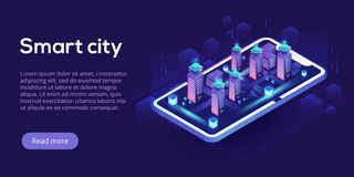 Smart city or intelligent building isometric vector concept. Building automation with computer networking illustration. vector illustration