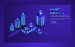 Smart city or intelligent building isometric vector concept. Smart city or intelligent building isometric vector. Smart building Infographics Isometric concept stock illustration