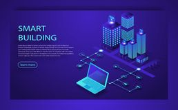 Smart city or intelligent building isometric vector concept. IoT platform future technology. Smart building Isometric concept. royalty free illustration