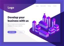 Smart city, intelligent building isometric vector illustration. Blockchain isometric composition for your design. Isometric vector illustration in purple vector illustration