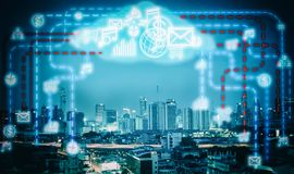 Smart city and internet network. Smart city and internet wireless communication network with icon royalty free stock photo