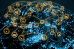 Smart city and internet network. Smart city and internet wireless communication network with icon stock photos