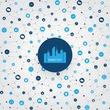 Smart City, Internet of Things or Cloud Computing Design Concept with Icons - Digital Network Connections, Technology Background. Abstract Colorful Cloud royalty free illustration