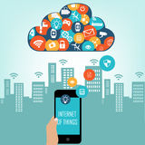 Smart City and Internet of things concept. Internet of things concept and Cloud computing technology  with different icon and elements. Internet of things cloud Stock Photos