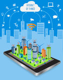 Smart City and Internet of things concept. Internet of things concept and Cloud computing technology  with different icon and elements. Internet of things cloud Royalty Free Stock Images