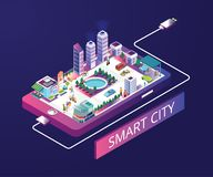 Smart City Isometric Artwork Concept. Isometric Artwork Concept of a smart city, Where the their is a restaurant a hospital etc. all the services like a normal stock illustration