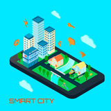 Smart City Isometric Design Concept. With private houses and office buildings located on smartphone screen and signs of remote management vector illustration Royalty Free Stock Images