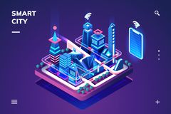 Smart city or isometric town with IoT or GPS tech royalty free illustration