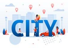 Smart City-Konzept-Karikatur-Leute-öffentlich Raum lizenzfreie abbildung