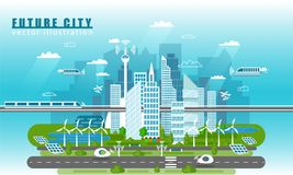 Smart city landscape of the future vector concept illustration in flat style. City urban skyline with modern. Technologies and self-driving cars. Future royalty free illustration