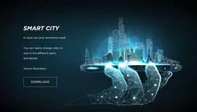 Smart city low poly wireframe. City future abstract or metropolis. Concept manage the city from the phone. Vector 3d. Smart city low poly wireframe on blue royalty free illustration