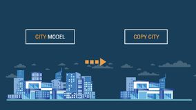 Smart city model technology concept video.Motion graphic city grow up vector illustration