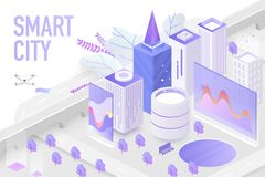 Smart city modern concept isometric vector illustration stock images