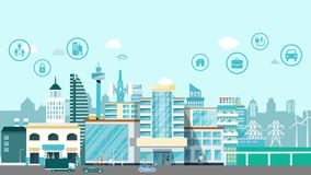 Smart city motion infographic design scene animation.Animation smart town with icon technology