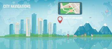 Smart city navigation. Big city and suburb. Tablet with city location. Modern city background. Vector Stock Photography