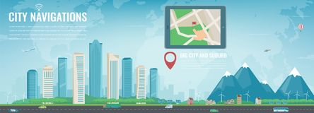 Smart city navigation. Big city and suburb. Tablet with city location. Modern city background. Vector Royalty Free Stock Photo