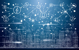 Smart City with Neon Buildings, Networks and Internet of Things royalty free illustration