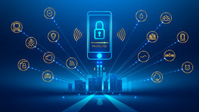 Smart city. Smart phone connection with a smart city. the icon lock on the mobile phone screen. Mobile security, secure wireless connection. The connection is Royalty Free Stock Photo