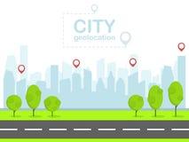 Smart city with pin navigation. Urban landscape. Flat design vector stock illustration
