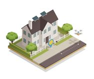 Smart City Townhouse Isometric Composition. Smart city technology isometric composition with townhouse sun battery panels and drone parcel delivery moment vector Stock Photos