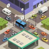 Smart City Traffic Isometric  Composition Stock Photography