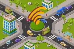 Smart city traffic and wifi on crossroad isometric 3D vector illustration of modern urban transport internet technology royalty free illustration