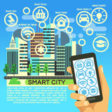 Smart city vector flat concept with internet thing, business communication and technology icons. Smart energy and education, innovation concept illustration Stock Image