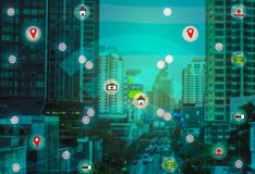 Smart City and Wireless Communication Concepts IOT ( Internet Of Things) royalty free stock image
