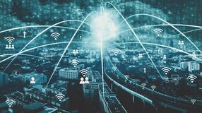 Smart City and Wireless Communication Concepts IOT Internet Of Thing,convenience lifestyle,Concept of future modern world with