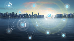 Smart city and wireless communication network Royalty Free Stock Image