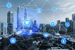Smart city and wireless communication network, business district. With office building, abstract image visual, internet of things concept stock photo