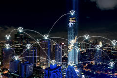 Smart city and wireless communication network, business district royalty free stock photo