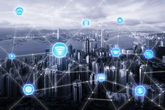 Smart city and wireless communication network, business district. With office building, abstract image visual, internet of things concept royalty free stock images
