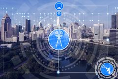 Smart city and wireless communication network. Concept - Internet of Things ( IOT ), Information Communication Technology ( ICT stock photography