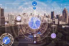 Smart city and wireless communication network. Concept - Internet of Things ( IOT ), Information Communication Technology ( ICT royalty free stock photography