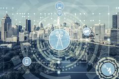 Smart city and wireless communication network. Concept - Internet of Things ( IOT ), Information Communication Technology ( ICT royalty free stock photo