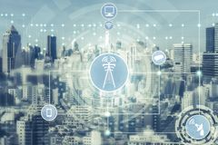 Smart city and wireless communication network. Concept - Internet of Things  IOT , Information Communication Technology  ICT stock photos