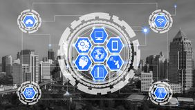 Smart city and wireless communication network. Concept - Internet of Things IOT, Information Communication Technology ICT stock photos