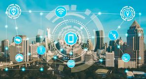 Smart city and wireless communication network. Concept - Internet of Things  IOT , Information Communication Technology  ICT royalty free stock photos