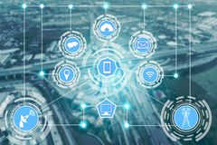 Smart city and wireless communication network. Smart city wireless communication network with graphic showing concept of internet of things ( IOT ) and stock image