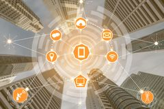 Smart city and wireless communication network. Smart city wireless communication network with graphic showing concept of internet of things (IOT) and information stock photos